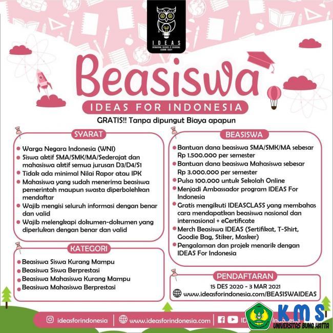 Beasiswa IDEAS For Indonesia Tahun 2021
